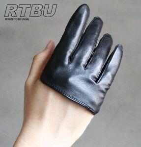 Genuine-Leather-Fashion-Runway-Party-Club-Four-4-Finger-Glove-Half-Lambskin-Punk