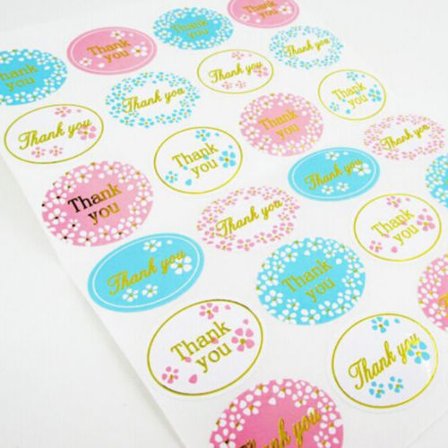 2x Golden THANK YOU Oval Stickers Labels Sealing Wedding Party Favors   SN