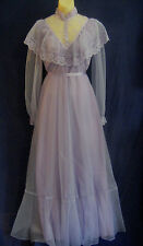 vtg 60s 70s long formal DRESS sz S M Prairie Western wedding retro Victorian