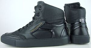 FLORIS-VAN-BOMMEL-Sneakers-High-Top-Sneaker-Herren-Leder-Schuhe-Black-Gr40-5-NEU