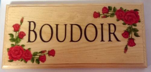 Plaque BOUDOIR Cadeau-chambre porte de maison Rose rouge fleurs Hotel 254 SIGNE