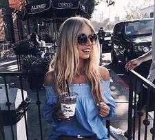 ZARA OFF SHOULDER SMOCK BLUE COTTON DRESS SIZE S