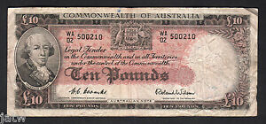 Australia-R-62-1954-10-Pounds-Coombs-Wilson-Commonwealth-Bank-Fine