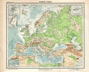 Europa Fisica Cartina Da Stampare.Carta Geografica Antica Europa Fisica Ante 2 Guerra Mondiale 1937 Antique Map Ebay