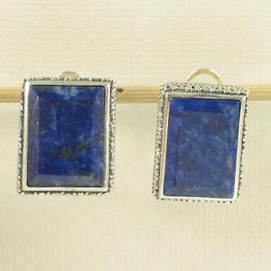 Plata-esterlina-925-Natural-Azul-Lapislazuli-11x16mm-Omega-pendientes-de-Clip-tpj
