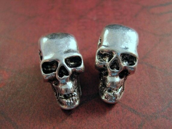 Antique Silver Dimensional Large Hole Skull Beads (2) - L764 Jewelry Finding