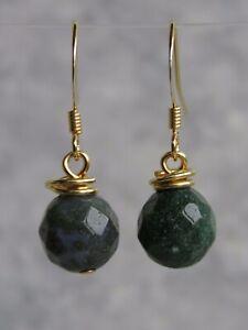 Gold Plated Semi Precious Indian Agate Stone Dangle Hook Earrings