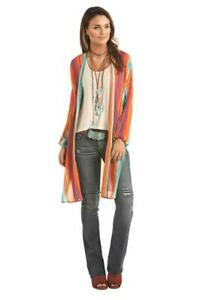 Rock-amp-Roll-Cowgirl-Juniors-Serape-Long-Sleeve-Duster-Cardigan-B4-9635