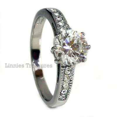 Engagement Promise Ring 8MM Round Solitaire CZ w Accents 316L Stainless Steel