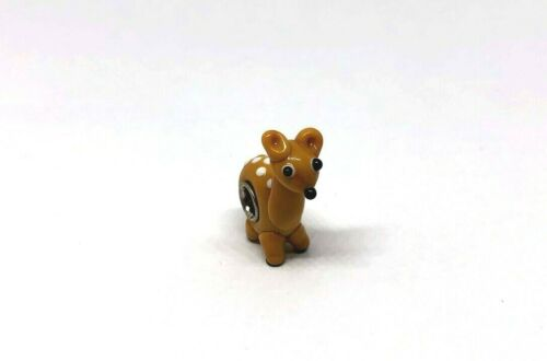 Deer Glass Animal Charm Bead Fits European Bracelet or Necklace