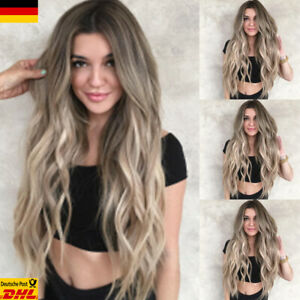 Details Zu De Damen Cosplay Partei Gelockt Glatt Volle Wigs Mode Blond Ombre Lang Perücke