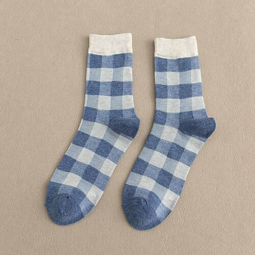 Women Spell Color Plaid Soft Breathable Cotton Mid Stockings Sock xkj F7H9