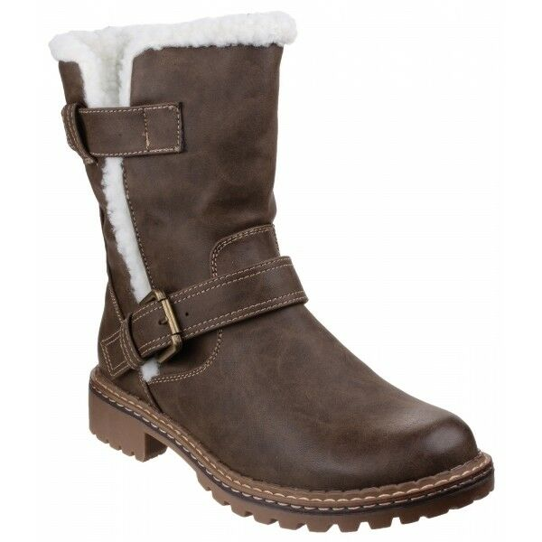 Divaz NARDO Ladies Womens Warm Winter Faux Leather Fluffy Fleece Boots Brown