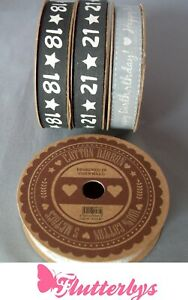 Quality-100-Cotton-Ribbon-5-Metre-Roll-15mm-wide-18-21-Happy-Birthday