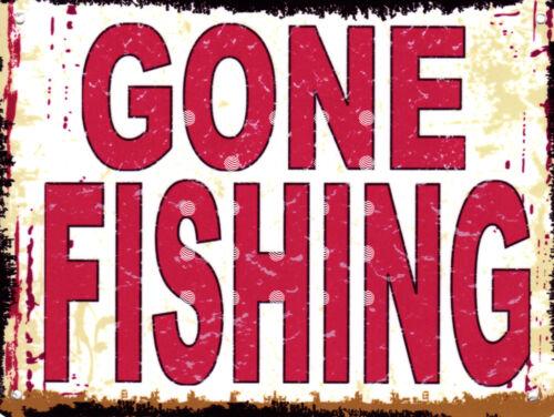 GONE FISHING METAL SIGN 8x10in pub bar shop cafe bakery diner shop man cave