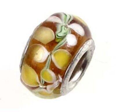 Lampwork Handmade Bead Big Hole Fit Bracelet Charm Topaz White Petal Flower 1 Bead