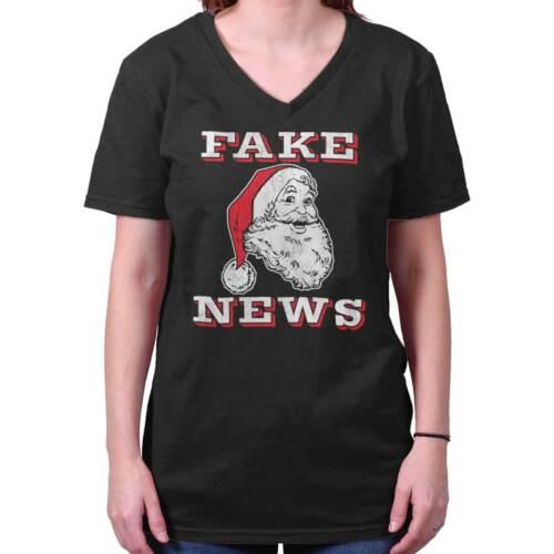 Santa Fake News Edgy Humor Trump Xmas Joke Funny Christmas V-Neck T Shirt