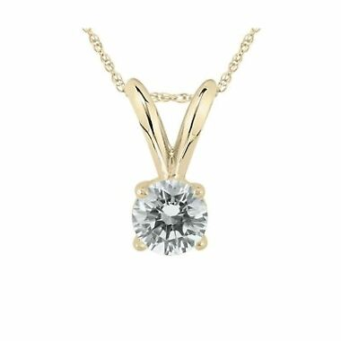 Ags Certified 1/5 Carat Round Diamond Solitaire Pendant
