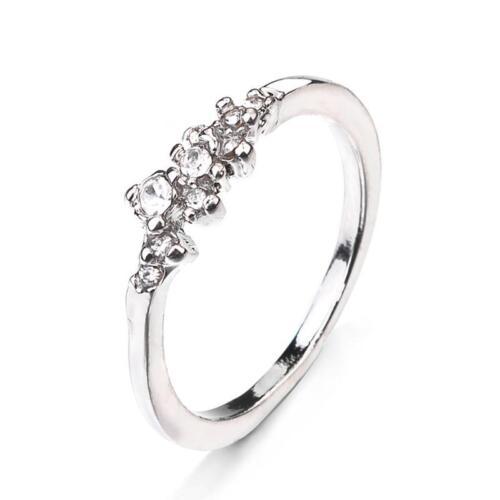 Rose Gold Silver Flower Design White Diamond Womens Engagement Gift Ring H