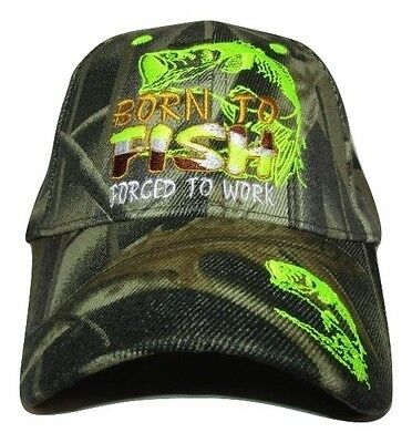 Born 2 Fish Forced 2 Work MESH Camouflage Camo Embroidered Cap Hat To