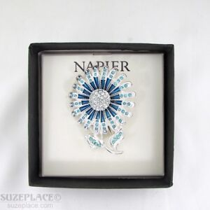 NAPIER-BLUE-FLOWER-BROOCH-PIN-NEW-IN-GIFT-BOX