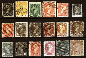 Canada-21-40-1868-77-Queen-Heads-Nice-Used-Lot-18-items