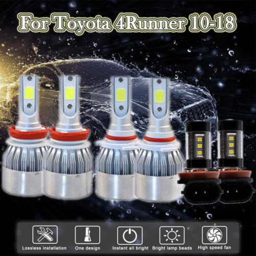 For Toyota 4Runner 2010-2018 Pcs Combo H11 9005 LED Headlight Fog Light Bulbs