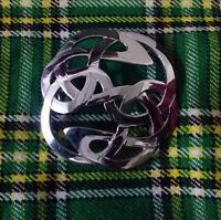 Scottish Brooch Lindisfarne Chrome Finish/ladies Women Lindisfarne Brooch Silver