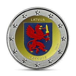 Lettland-2-Euro-Muenze-Latgale-2017-Historische-Regionen-in-Farbe