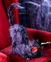 Animated Black Taxidermy Cat Halloween Decoration Haunted House Prop Light Sound