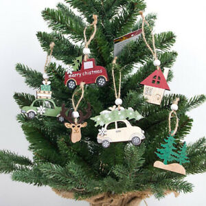 3Pcs Kawaii Hanging Wooden Christmas Tree Cabin Elk Car Ornament Home Decor Set