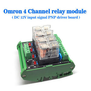 Omron-4-Relay-Socket-4-Panels-Driver-Board-Module-DC-12V-Input-Signal-PNP