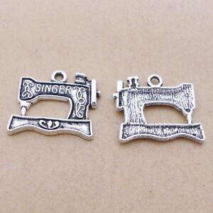10Pcs Tibetan Silver SINGER Sewing Machine Charms Pendants DIY Jewelry Making