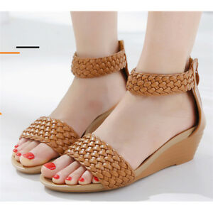 Details about Women Roman Weave Wedge Mid Heels Zip Sandals Ankle Strap Beach Peep Toe Shoes