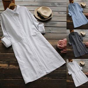 Fashion-Women-Pockets-Dress-Long-Sleeve-Cotton-Linen-Striped-Casual-Dresses
