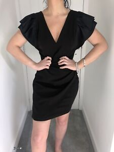 Bnwt Lipsy Black Heavyweight Satin Flare Hülle Mini Bodycon Kleid Gr. 14 NEU