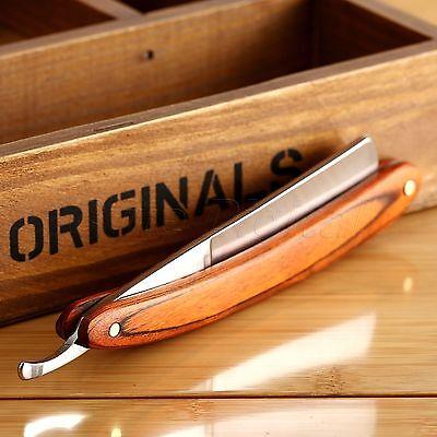 Men's Straight Edge Steel Salon Barber Razor Folding Shaving Knife Wood Handle