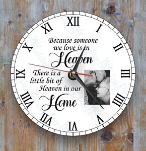 Personalised-wall-glass-clock-photo-text-logo-Remembrance-Gift-Family-Loved-Ones