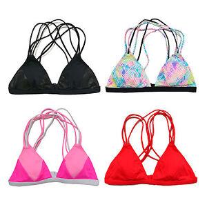 cc4b0ff0c7c Victoria s Secret Pink Bathing Suit Top Strappy Triangle Swim Bikini ...