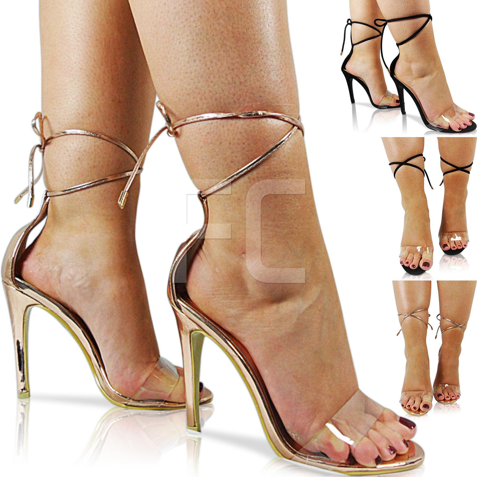 Cómodo y bien parecido Nueva camiseta para mujer Tacón Alto Puntera Abierta Stiletto Perspex Transparente Tobillo Lazo Sandalia Zapatos Talla