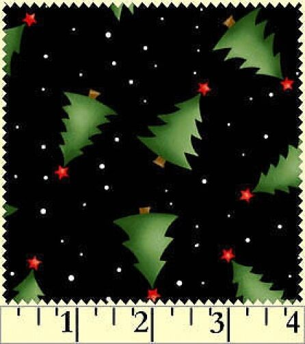 Fat Quarter Christmas Classics Trees on Black Cotton Quilting Fabric