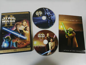 STAR WARS Attack Of The Clones 2 X DVD + Extra English Spagnolo Regione 1 - Am