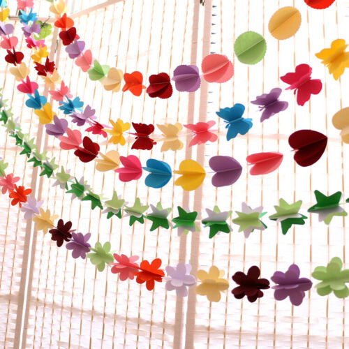 Paper Flower Garland Buntings Wedding Party Birthday Banner Hanging Decor