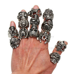 lots-10X-OverSize-Gothic-Skull-Carved-Biker-Mixed-Styles-Men-039-s-Anti-Silver-Rings