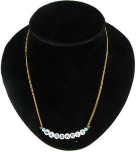 Margaret - Name Necklace Gold Tone Blue Glass - Circa 1950-60