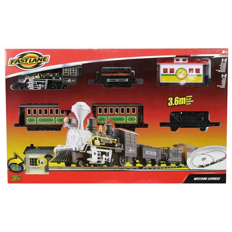 Fast Lane Western Express Train Set 3.6 M piste réaliste réaliste réaliste Sound kids jouets Play b0eaa5