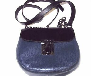 2652d766d6d8 Michael Kors Cecelia Mini Saddle Bag Navy Leather Black Patent Combo ...