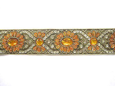 Handbestickte Borte Olivgrün Orange  Gold BO-EB-1129