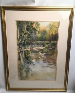 Watercolour-Lake-Pond-With-Trees-Mounted-And-Framed