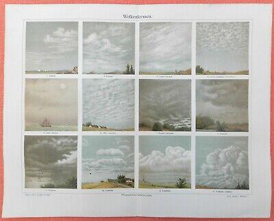 Offizielle Website Wolkenformen Cirrus Cumulus Nimbus Wolken Wolkenbilder Lithographie 1906